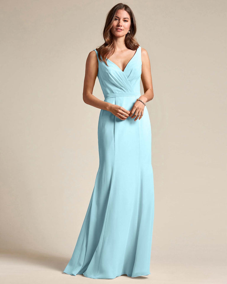 Blue Glow Classic V Neckline Bridesmaid Gown With Mermaid Skirt