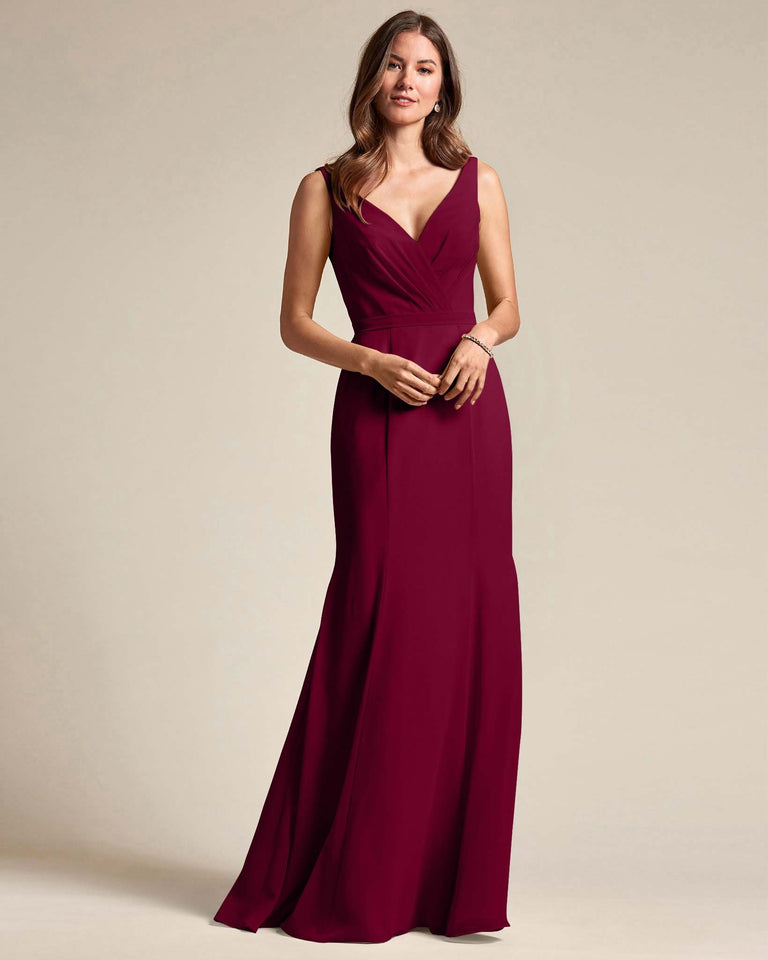 Burgundy Classic V Neckline Bridesmaid Gown With Mermaid Skirt