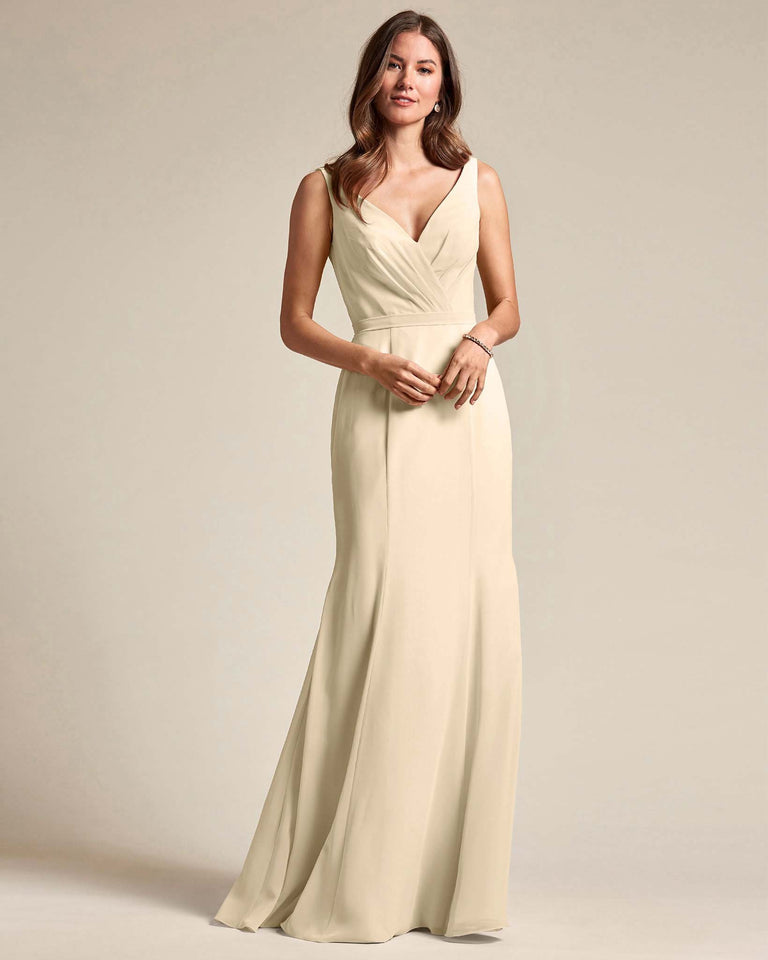 Champagne Classic V Neckline Bridesmaid Gown With Mermaid Skirt