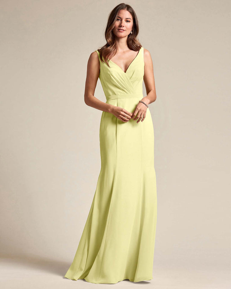 Daffodil Classic V Neckline Bridesmaid Gown With Mermaid Skirt