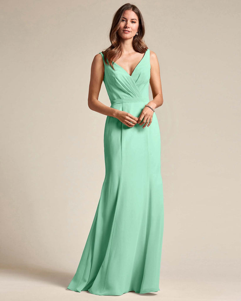 Mint Green Classic V Neckline Bridesmaid Gown With Mermaid Skirt