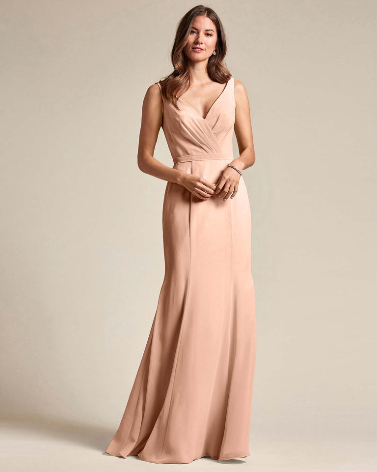Peach Classic V Neckline Bridesmaid Gown With Mermaid Skirt