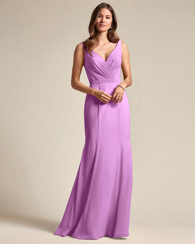 Purple Classic V Neckline Bridesmaid Gown With Mermaid Skirt