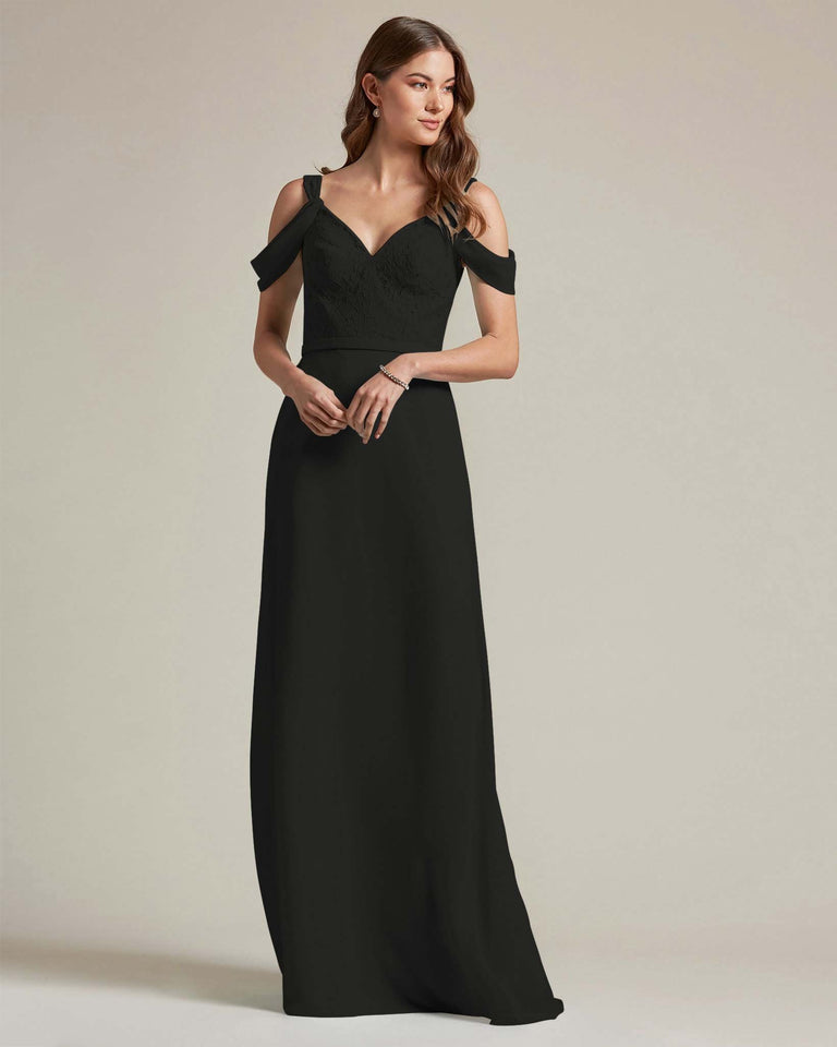 Black Embroidered V Neck Top With Over The Shoulder Adornment Long Skirt Bridesmaid Dress