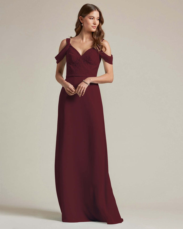 Claret Embroidered V Neck Top With Over The Shoulder Adornment Long Skirt Bridesmaid Dress