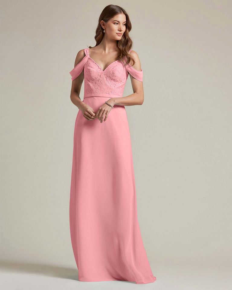 Flamingo Pink Embroidered V Neck Top With Over The Shoulder Adornment Long Skirt Bridesmaid Dress