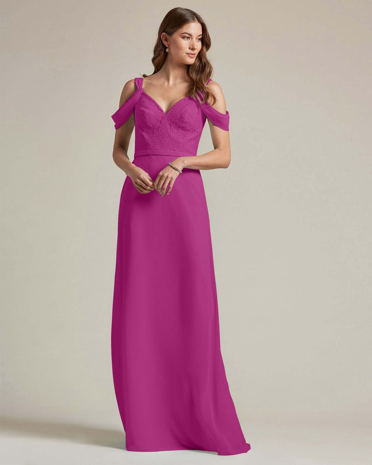 Fuchsia Embroidered V Neck Top With Over The Shoulder Adornment Long Skirt Bridesmaid Dress
