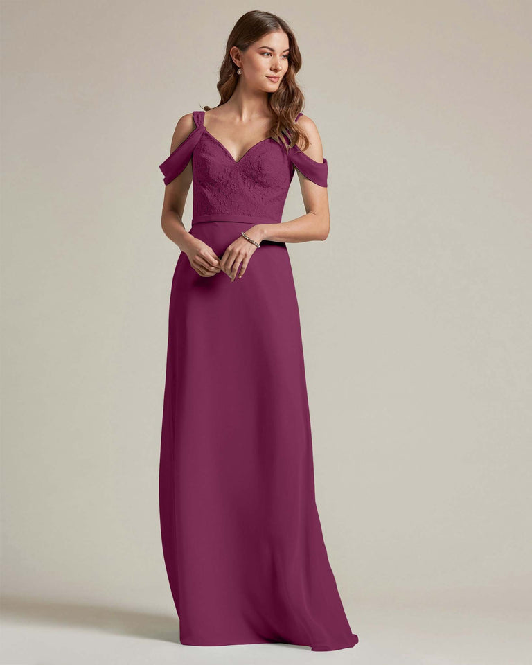 Grape Embroidered V Neck Top With Over The Shoulder Adornment Long Skirt Bridesmaid Dress