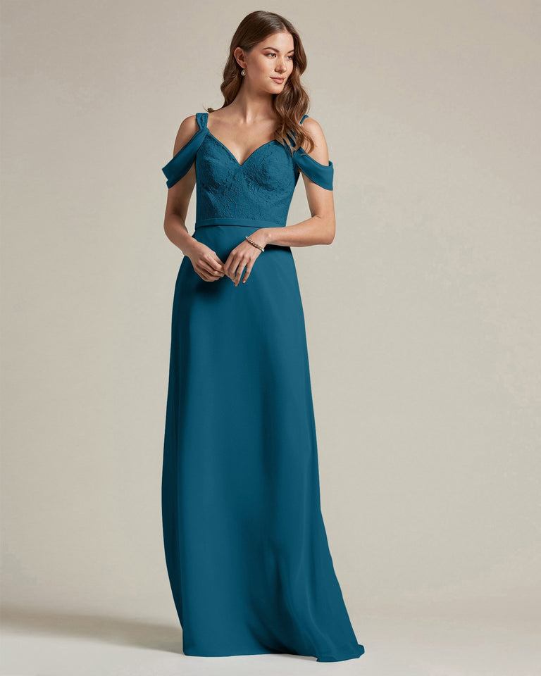 Ink Blue Embroidered V Neck Top With Over The Shoulder Adornment Long Skirt Bridesmaid Dress