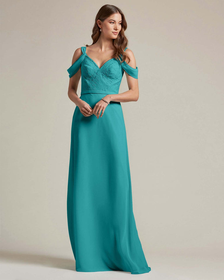 Jade Embroidered V Neck Top With Over The Shoulder Adornment Long Skirt Bridesmaid Dress