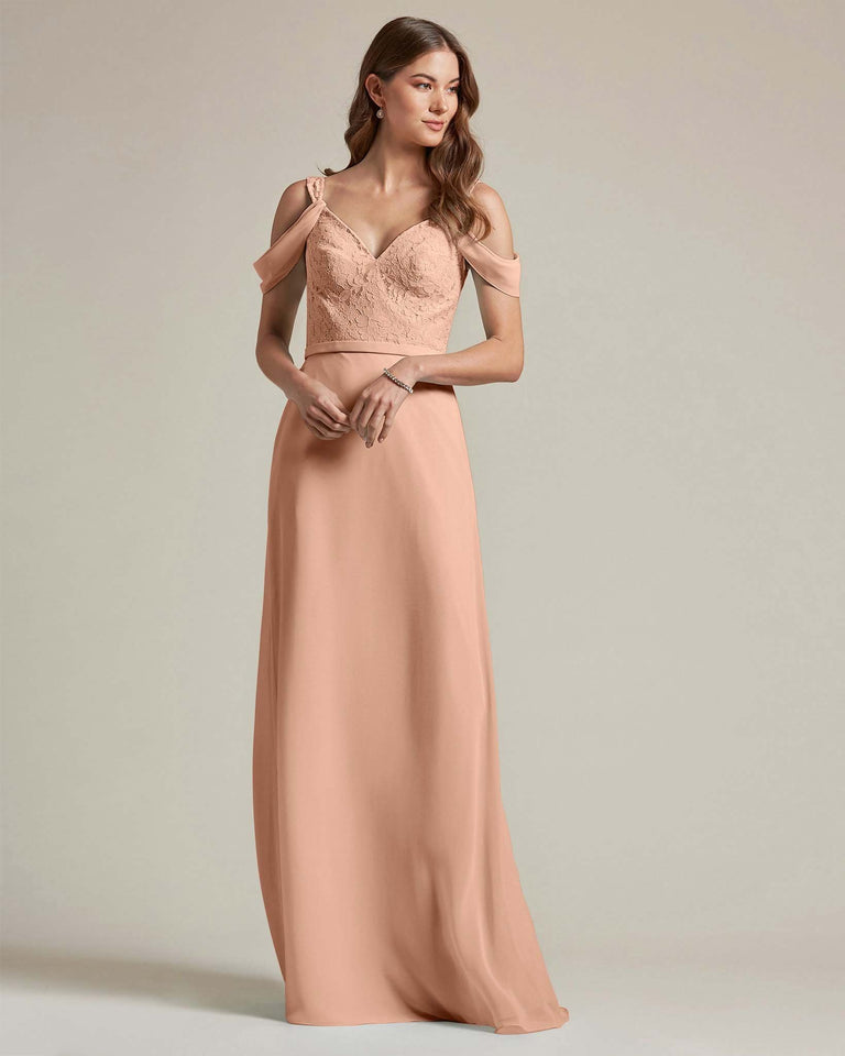 Peach Embroidered V Neck Top With Over The Shoulder Adornment Long Skirt Bridesmaid Dress