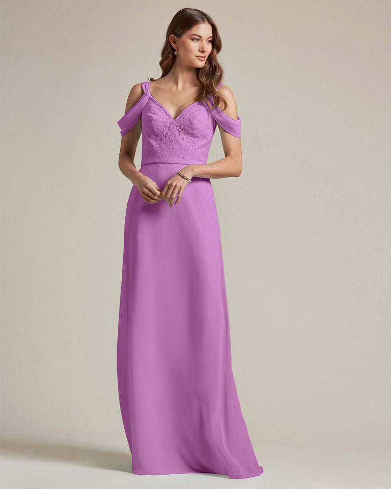 Purple Embroidered V Neck Top With Over The Shoulder Adornment Long Skirt Bridesmaid Dress