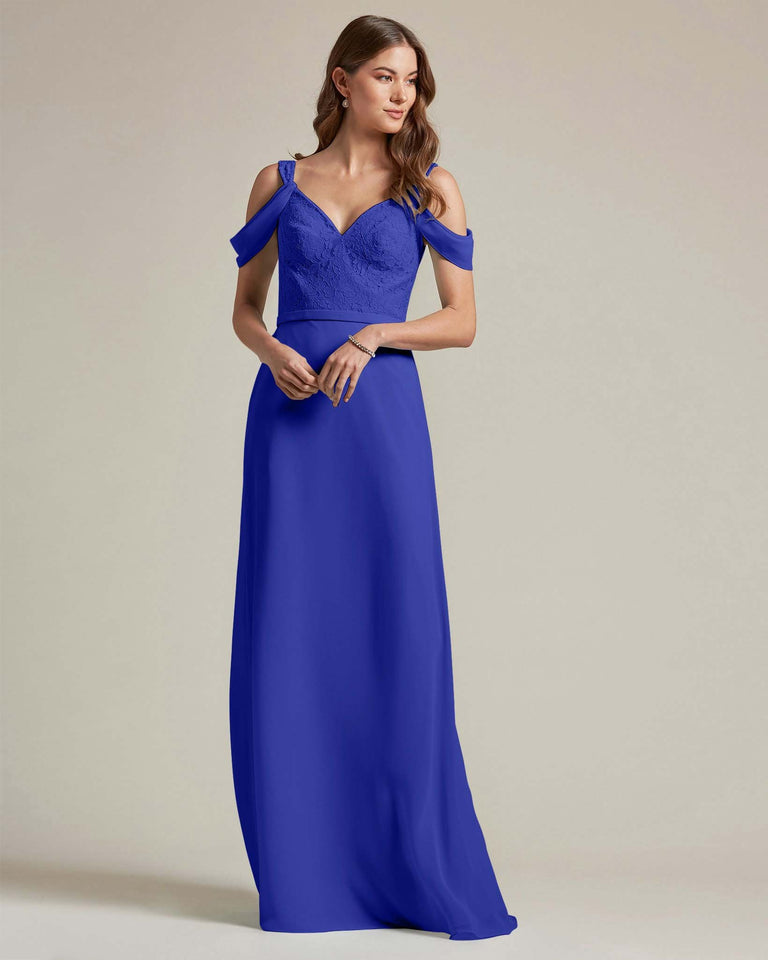 Royal Blue Embroidered V Neck Top With Over The Shoulder Adornment Long Skirt Bridesmaid Dress