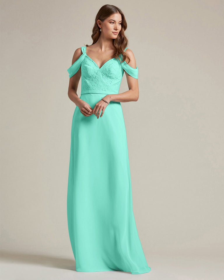 Spa Embroidered V Neck Top With Over The Shoulder Adornment Long Skirt Bridesmaid Dress