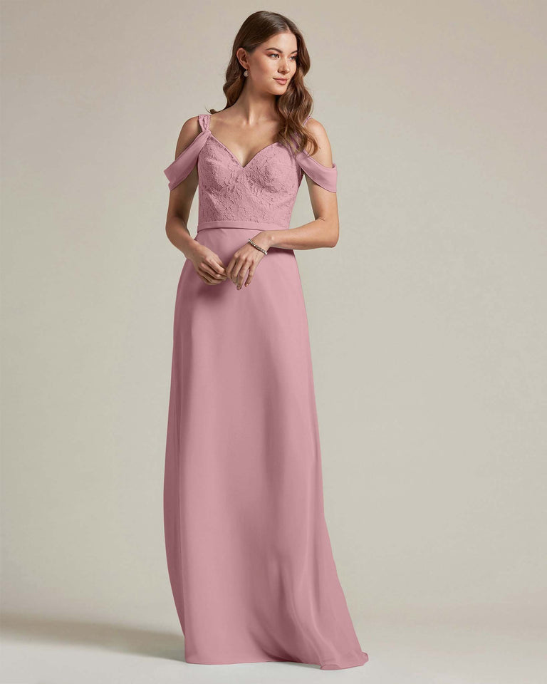 Vintage Mauve Embroidered V Neck Top With Over The Shoulder Adornment Long Skirt Bridesmaid Dress