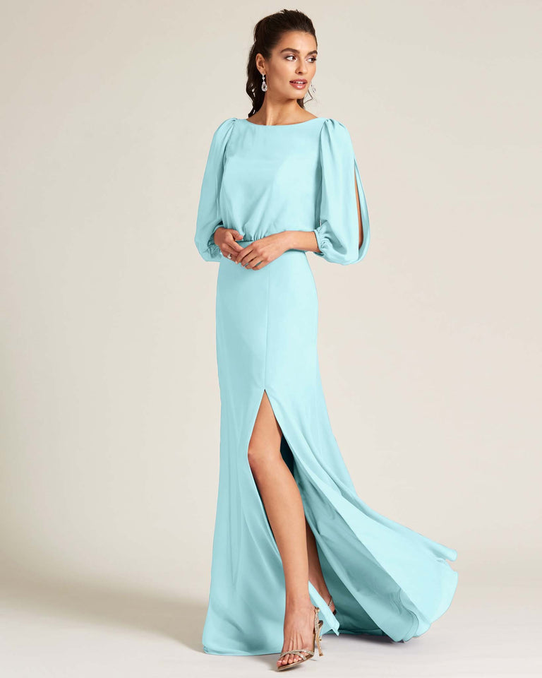 Blue Glow Sheer Top Long Sleeve Formal Gown