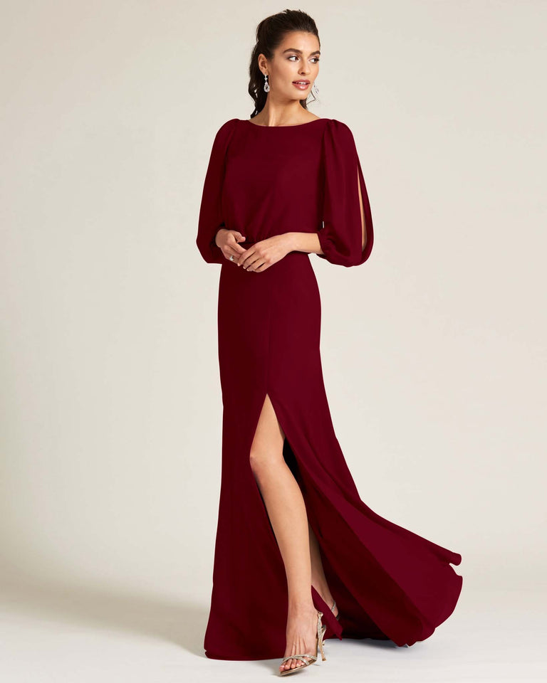 Burgundy Sheer Top Long Sleeve Formal Gown