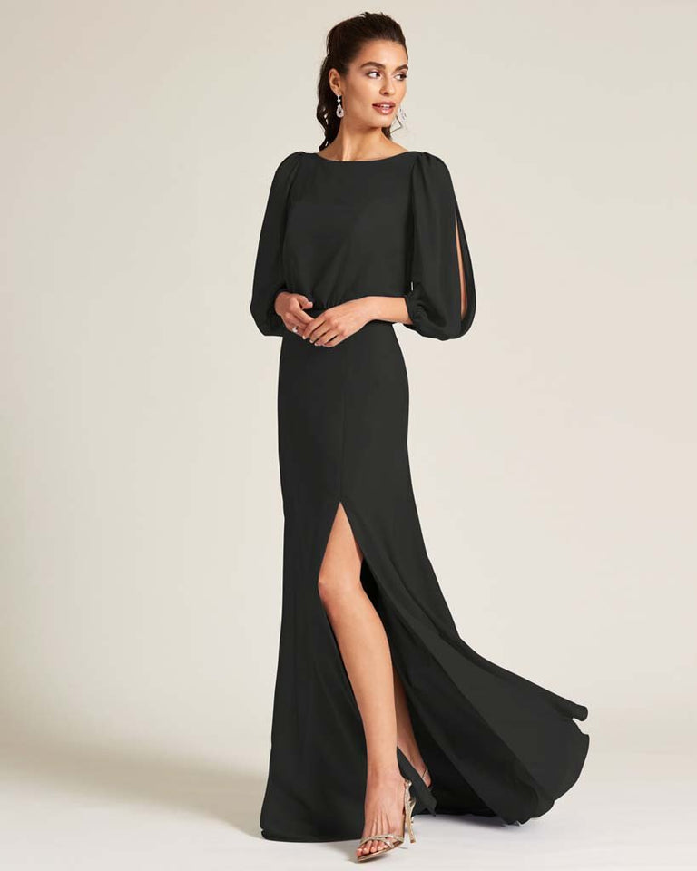 Black Sheer Top Long Sleeve Formal Gown