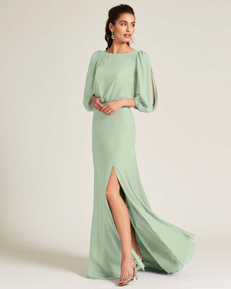 Celadon Sheer Top Long Sleeve Formal Gown