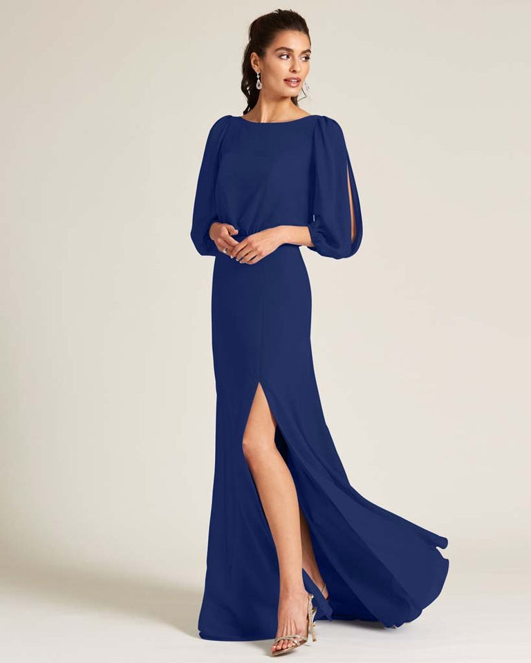 Dark Navy Sheer Top Long Sleeve Formal Gown