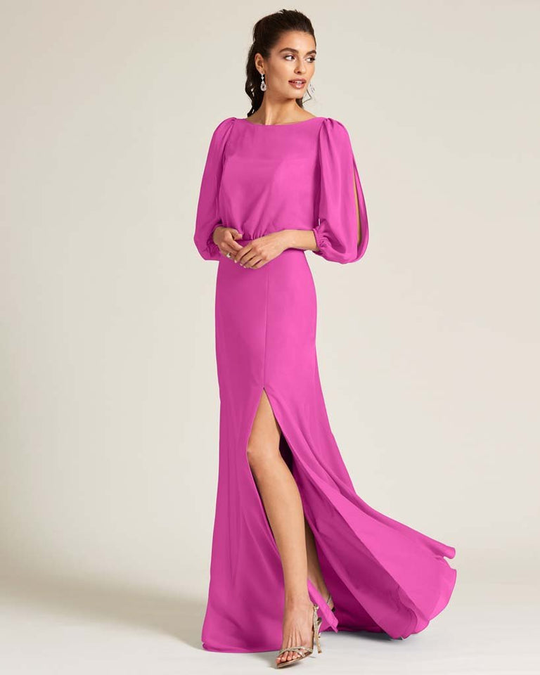 Fuchsia Sheer Top Long Sleeve Formal Gown