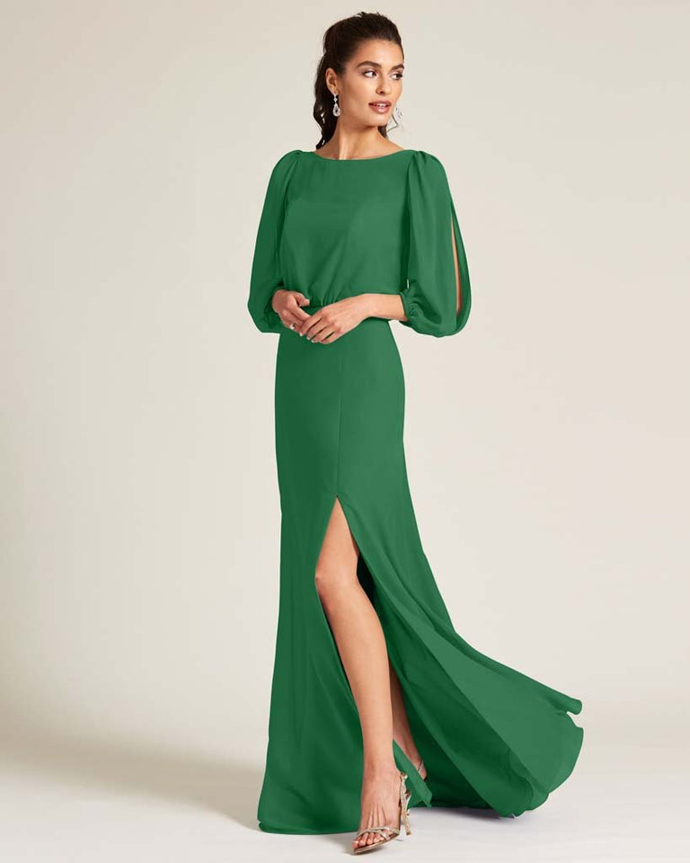 Jolly Green Sheer Top Long Sleeve Formal Gown