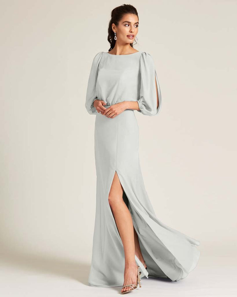Silver Sheer Top Long Sleeve Formal Gown