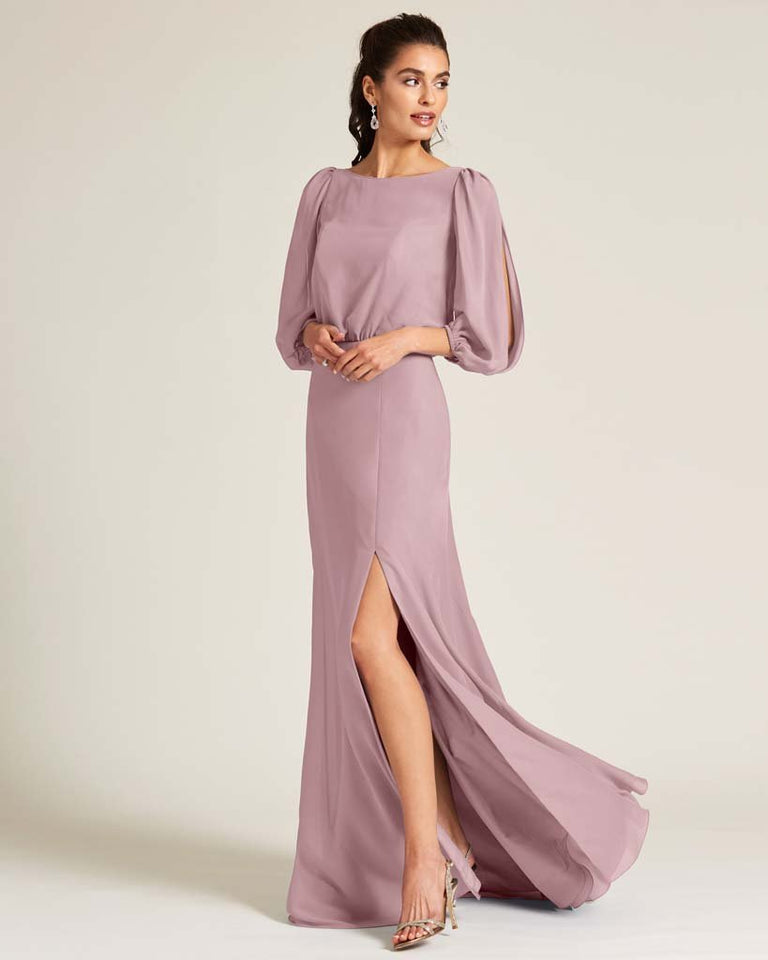 Vintage Mauve Sheer Top Long Sleeve Formal Gown