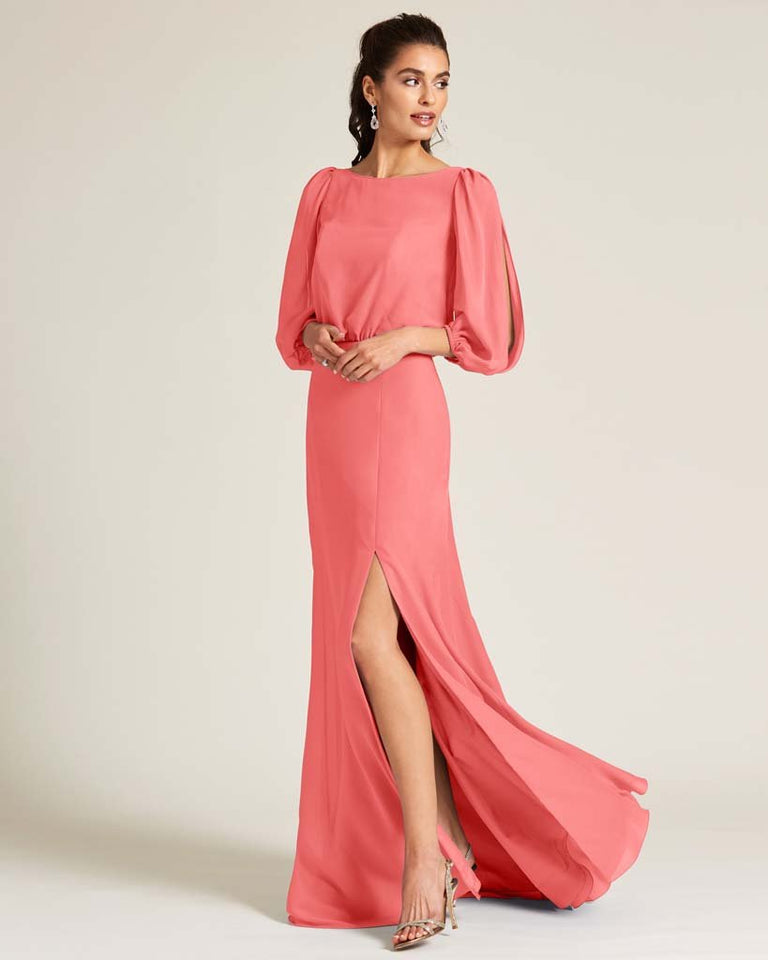 Watermelon Sheer Top Long Sleeve Formal Gown