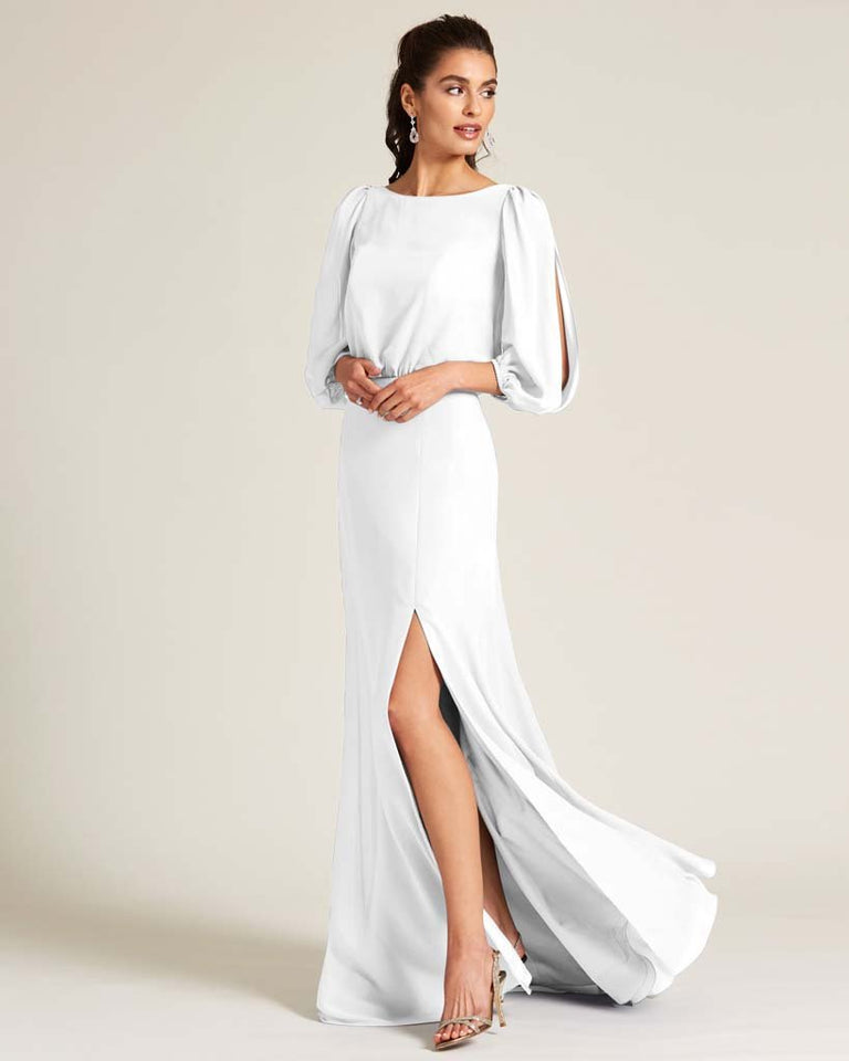 White Sheer Top Long Sleeve Formal Gown