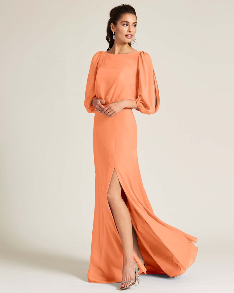 Papaya Sheer Top Long Sleeve Formal Gown