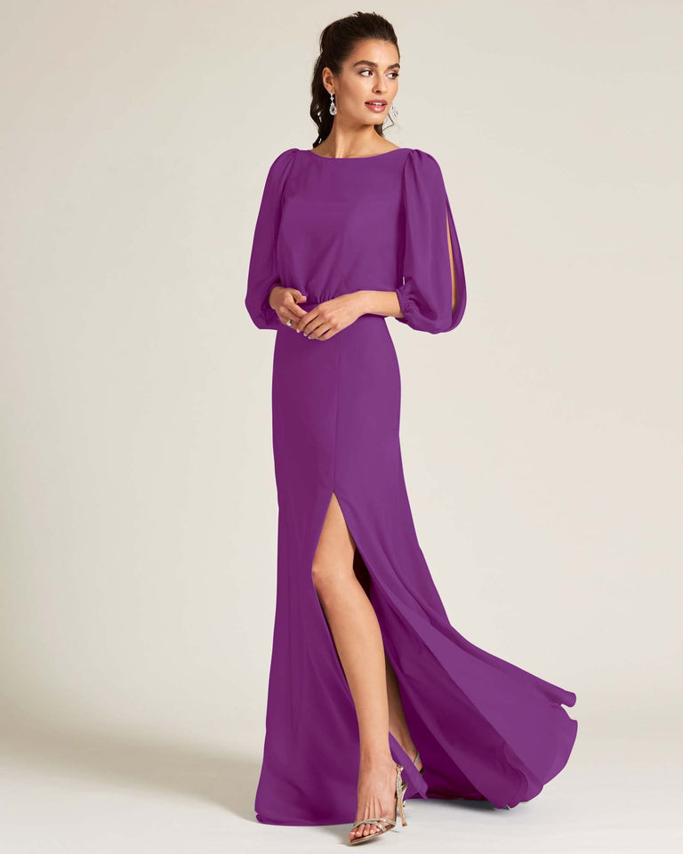 Passion Sheer Top Long Sleeve Formal Gown