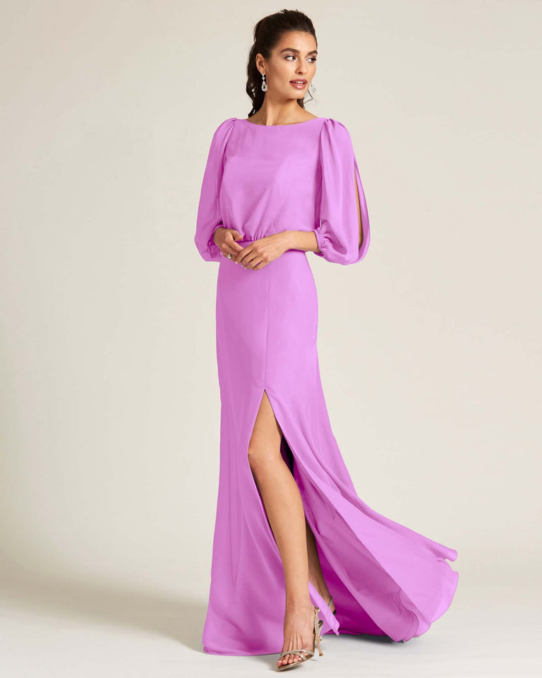 Purple Sheer Top Long Sleeve Formal Gown