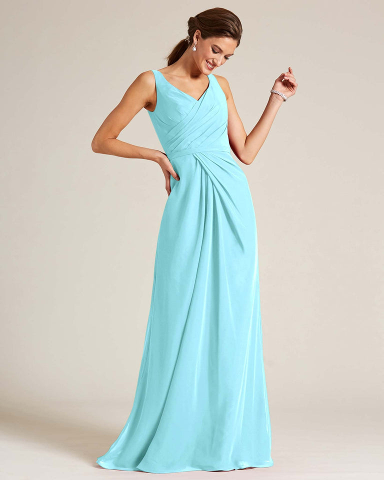 Blue Glow Ruched Front Multi Strap Back Dress