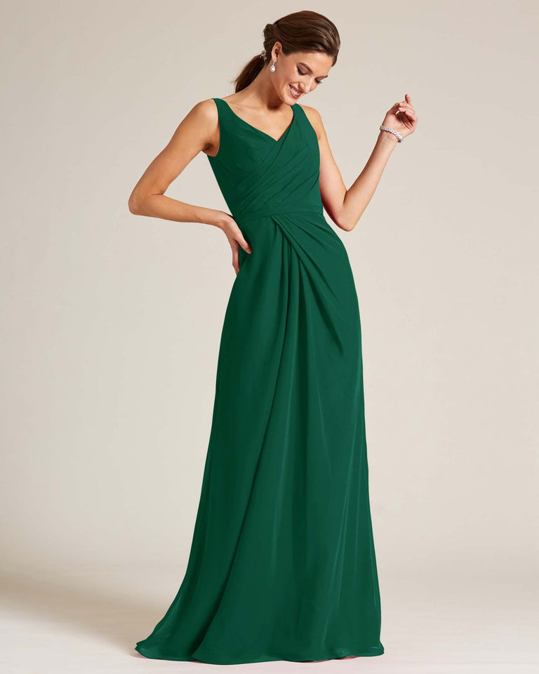 Dark Green Ruched Front Multi Strap Back Dress
