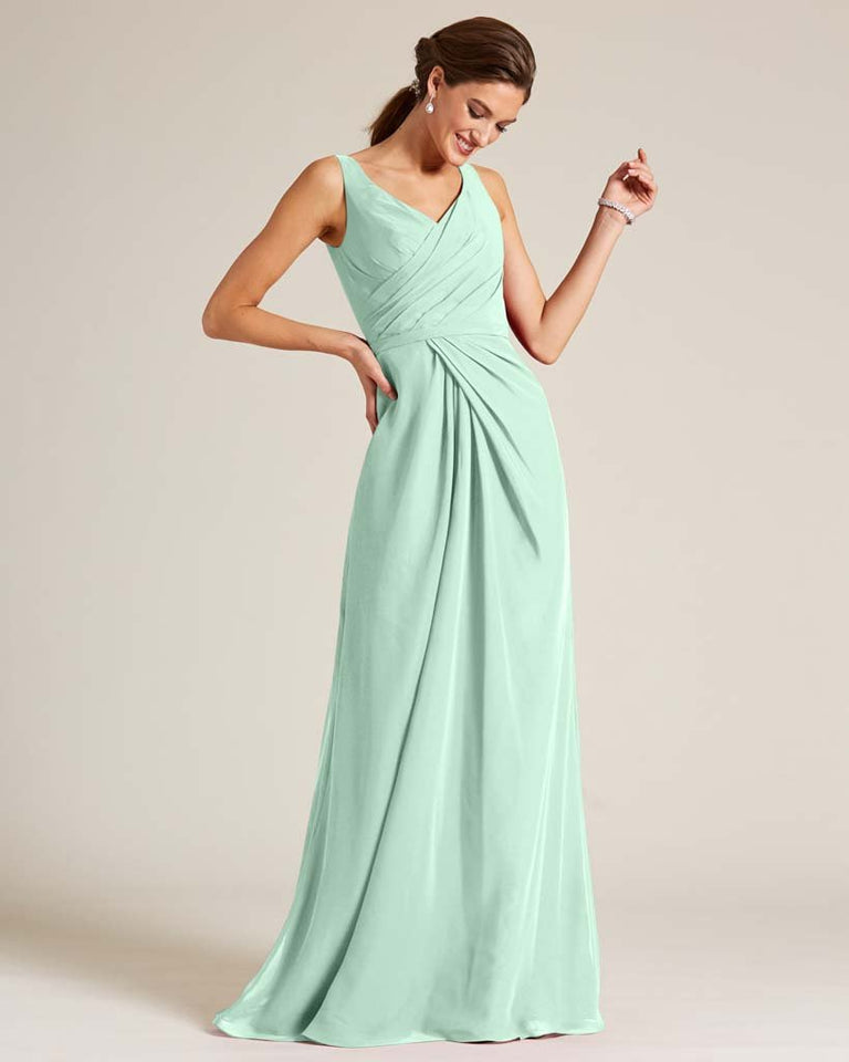 Mint Green Ruched Front Multi Strap Back Dress