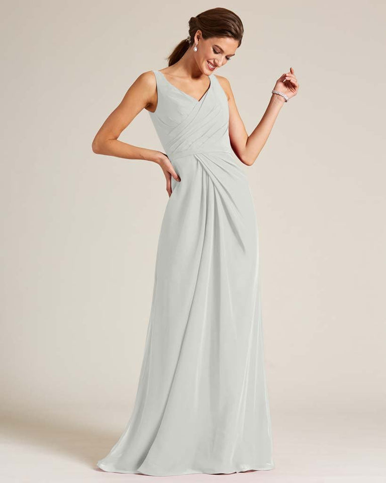 Silver Ruched Front Multi Strap Back Dress