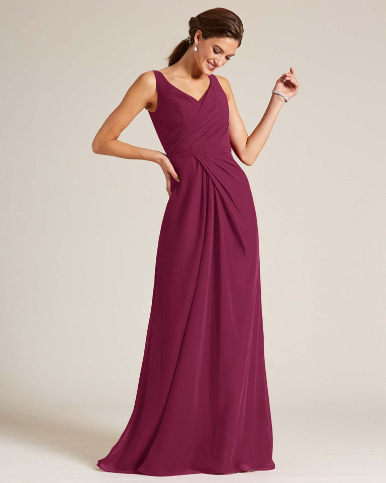 Grape Ruched Front Multi Strap Back Dress