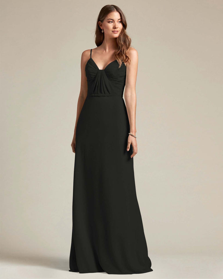 Black Unique Ruched Design V Neckline Gown With Waistband Adornment