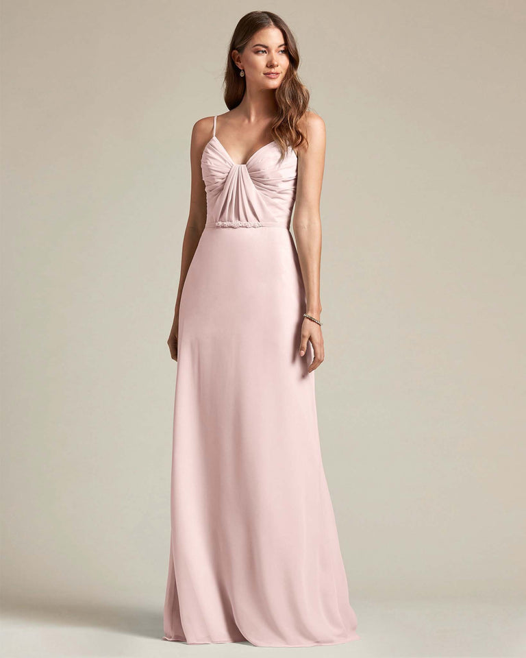 Blushing Pink Unique Ruched Design V Neckline Gown With Waistband Adornment