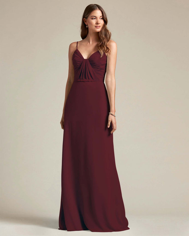 Claret Unique Ruched Design V Neckline Gown With Waistband Adornment