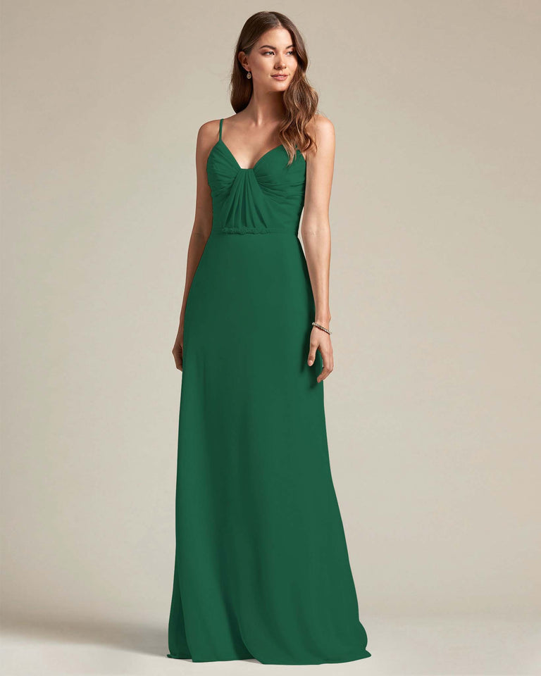 Dark Green Unique Ruched Design V Neckline Gown With Waistband Adornment