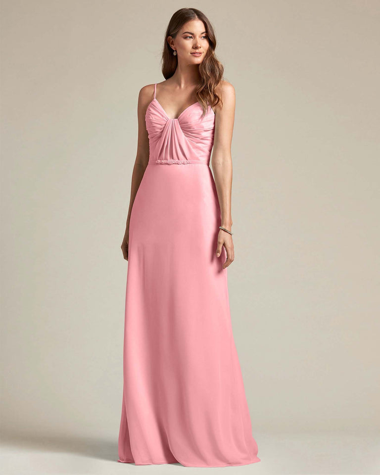 Flamingo Pink Unique Ruched Design V Neckline Gown With Waistband Adornment