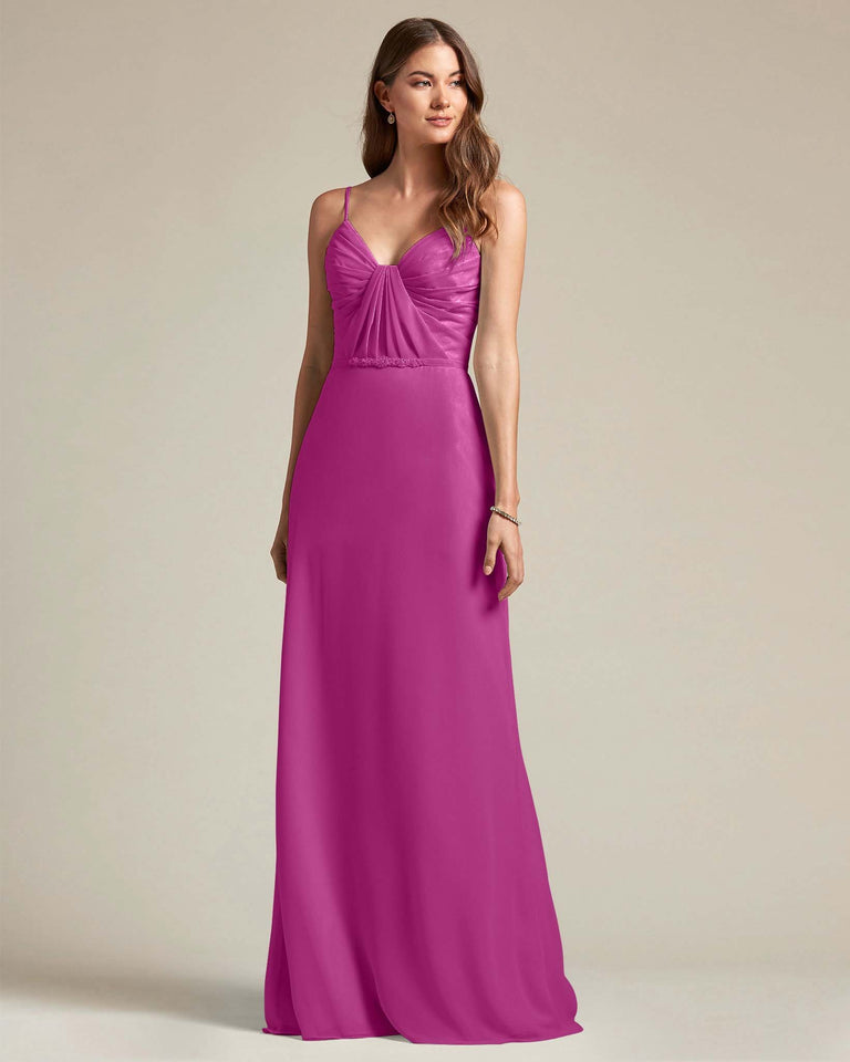 Fuchsia Unique Ruched Design V Neckline Gown With Waistband Adornment