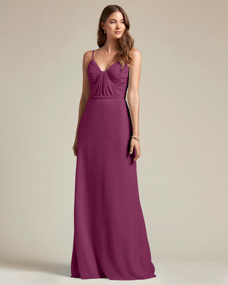 Grape Unique Ruched Design V Neckline Gown With Waistband Adornment