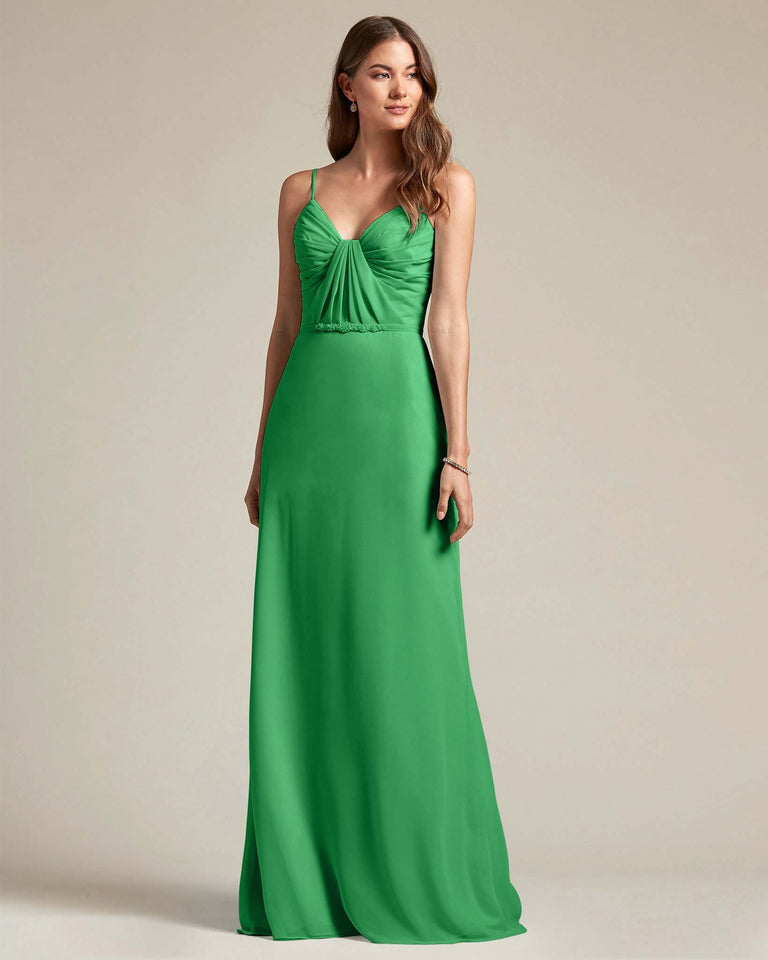 Jolly Green Unique Ruched Design V Neckline Gown With Waistband Adornment