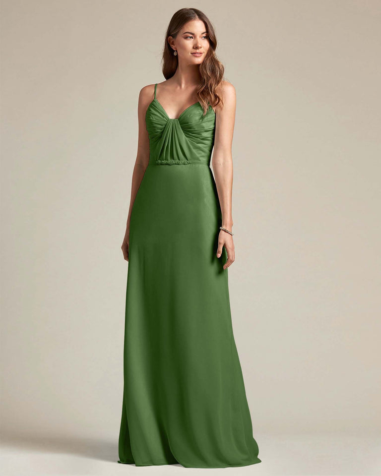 Moss Unique Ruched Design V Neckline Gown With Waistband Adornment
