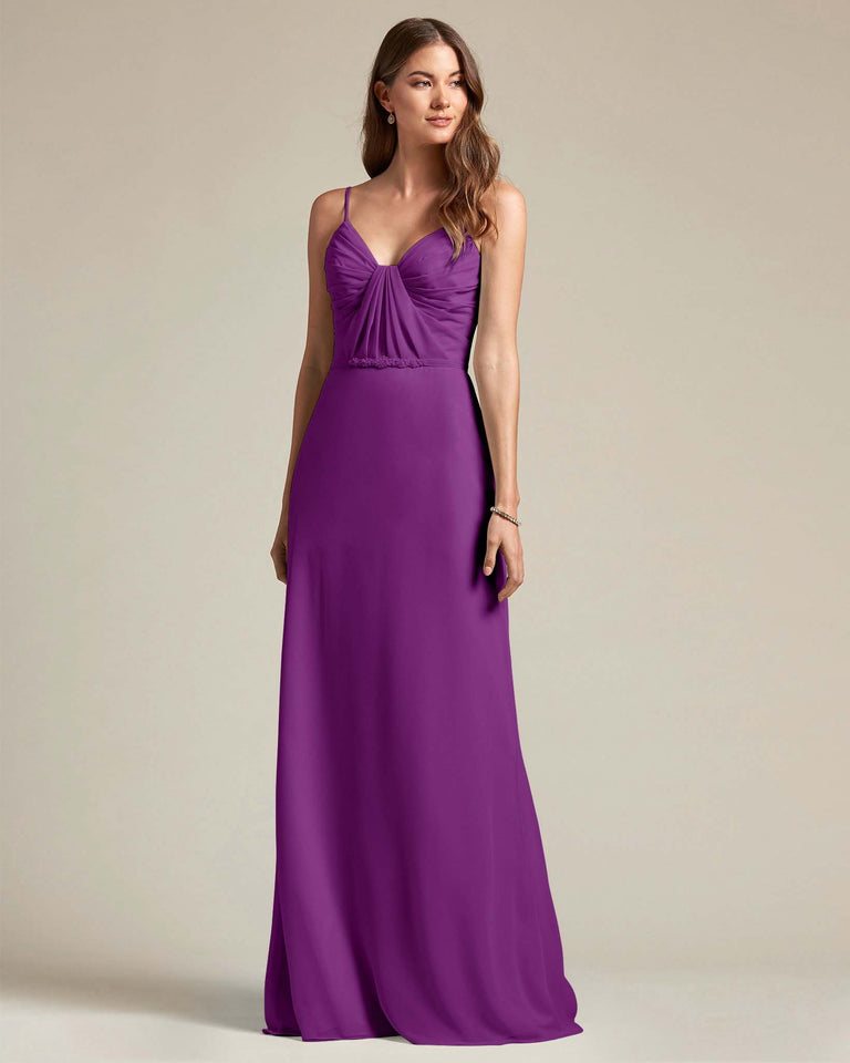 Passion Unique Ruched Design V Neckline Gown With Waistband Adornment