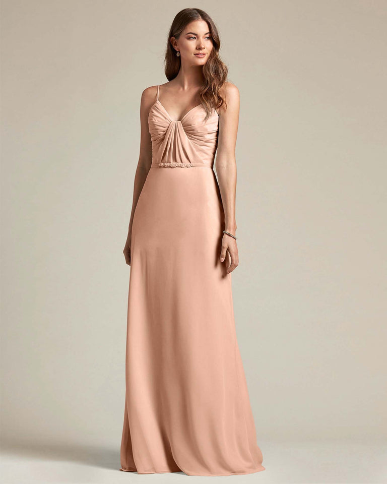 Peach Unique Ruched Design V Neckline Gown With Waistband Adornment