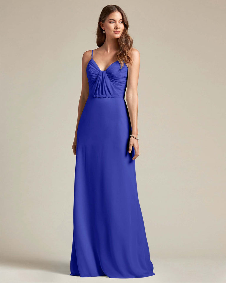 Royal Blue Unique Ruched Design V Neckline Gown With Waistband Adornment